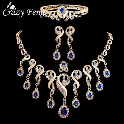 Crystal Jewelry Sets for Women Gold Color Wedding Necklace Earrings Bracelet Ring