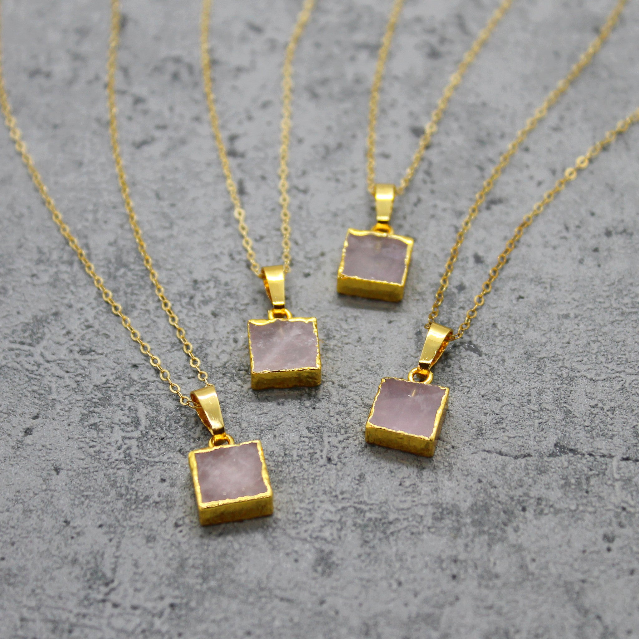 Rose quartz cube necklace - Mara studio