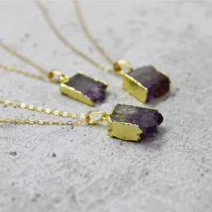 Mini amethyst slice necklace - Mara studio