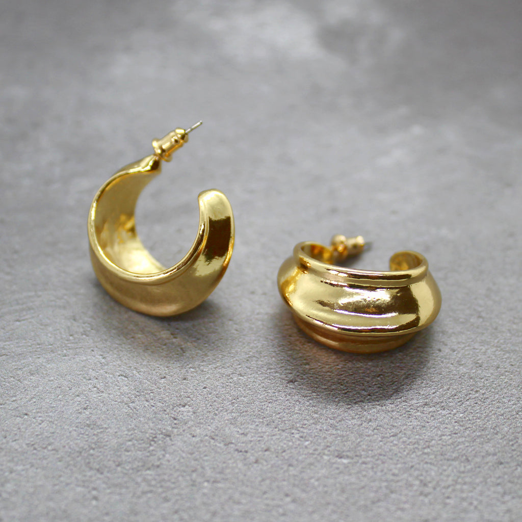 Thick gold hoops - Mara studio