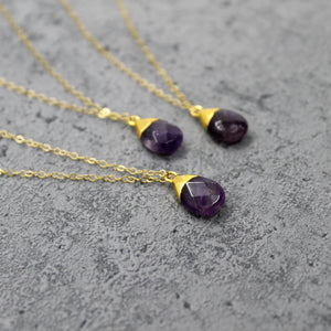 Amethyst nugget stone necklace - Mara studio