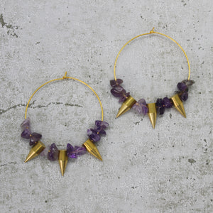Amethyst spike earrings - Mara studio