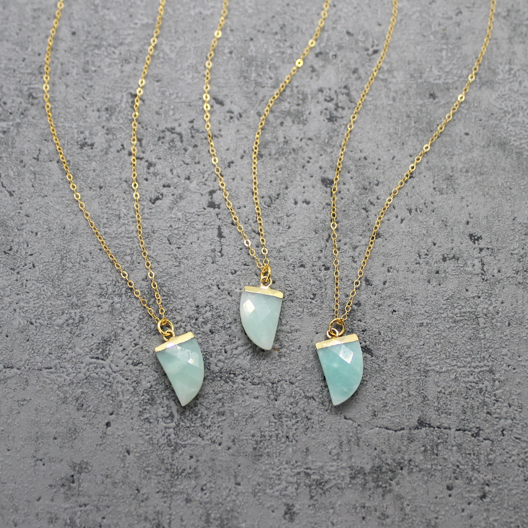 Amazonite horn necklace - Mara studio