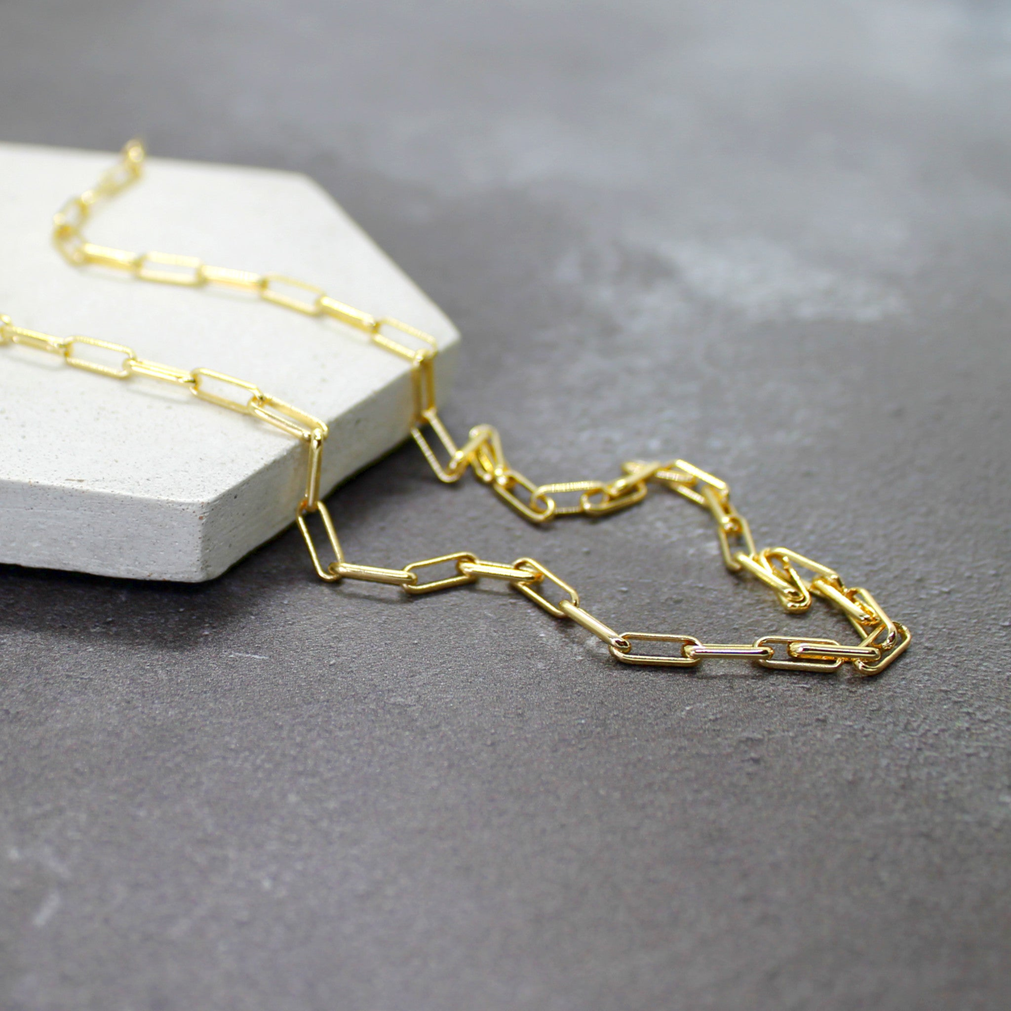 Gold filled paperclip chain - Mara studio