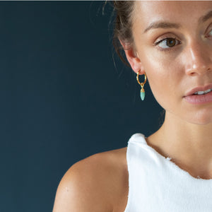Amazonite stone hoops - Mara studio