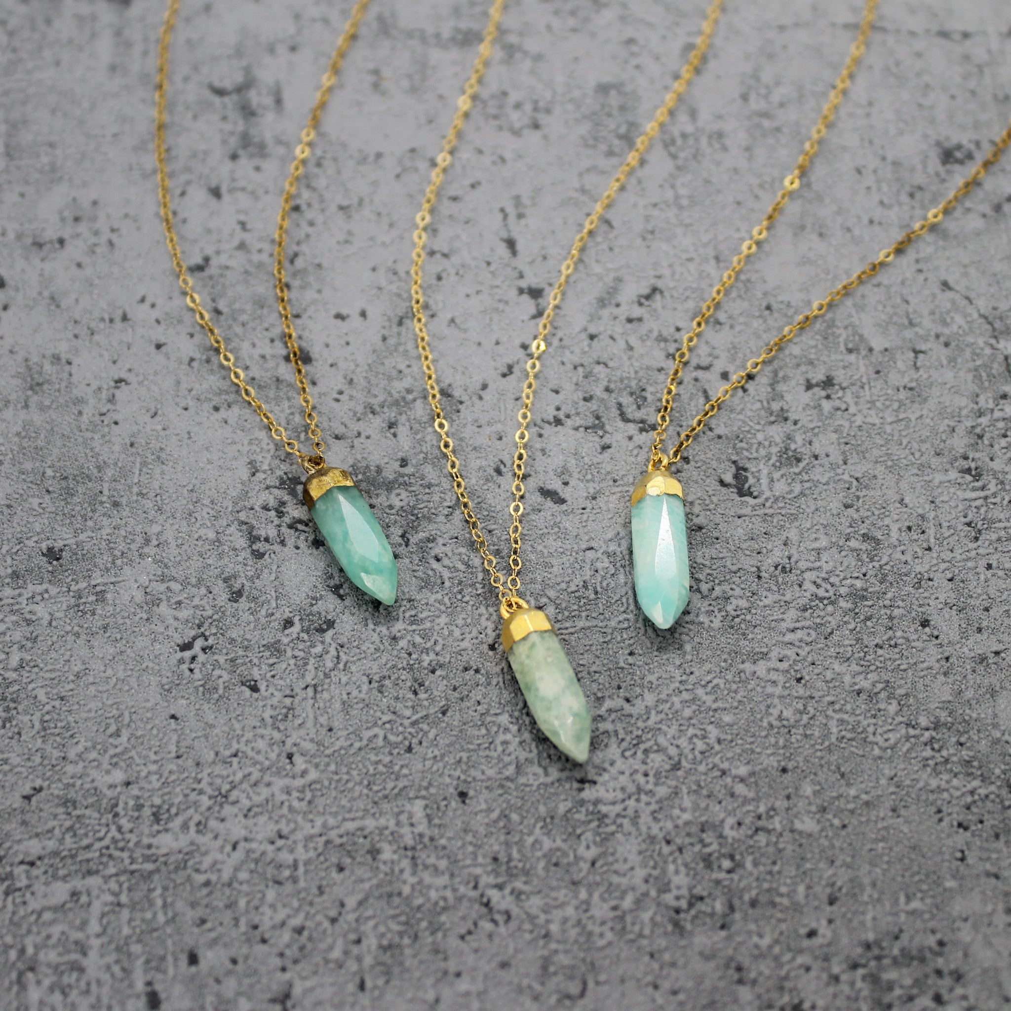 Amazonite stone spike necklace - Mara studio