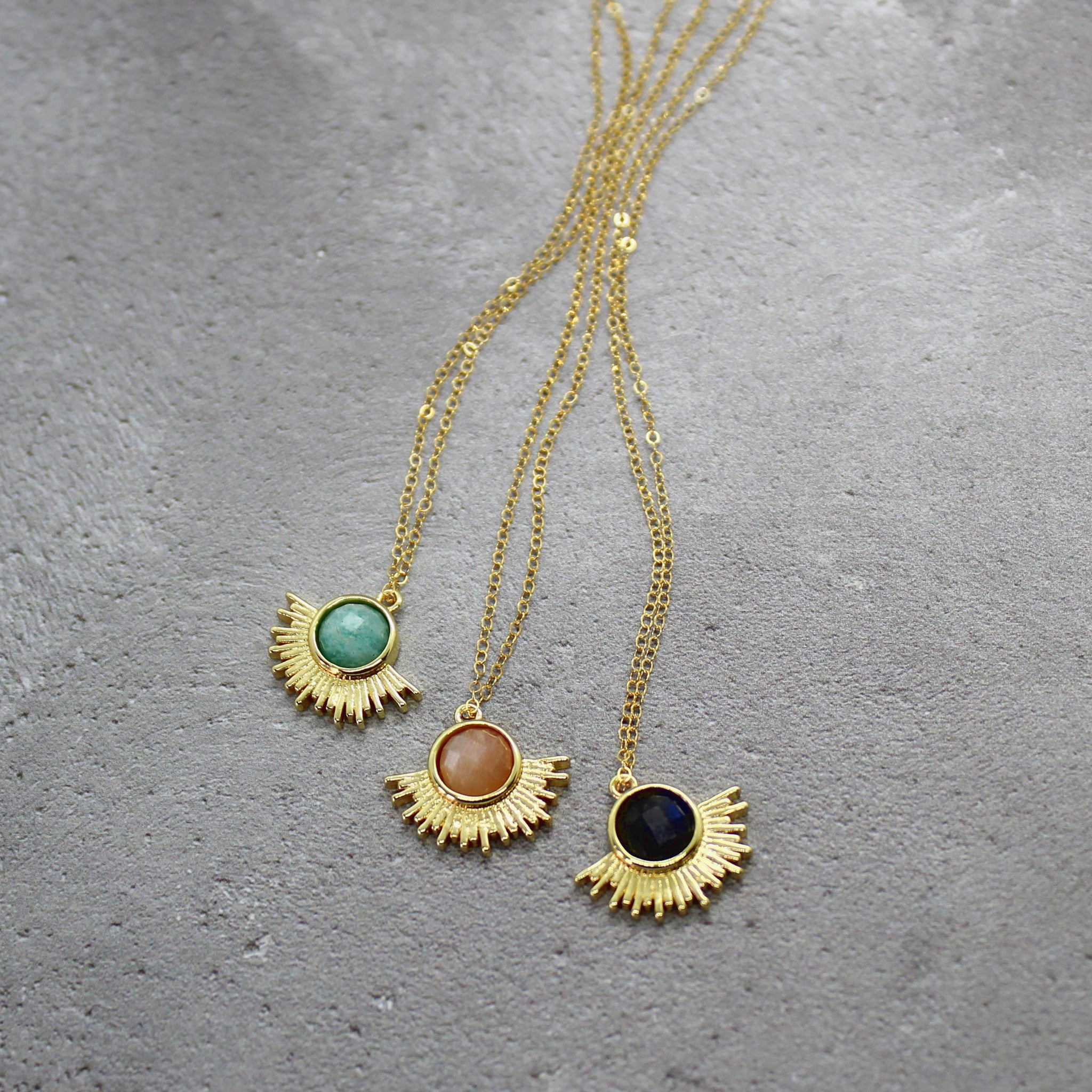 Gold bezel stone necklace - Mara studio