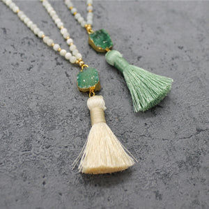 Stone tassel necklace - Mara studio