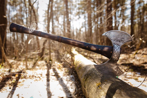 Engraved Double Sided Viking Axe