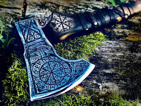 Custom Ægishjálmr Viking Axe
