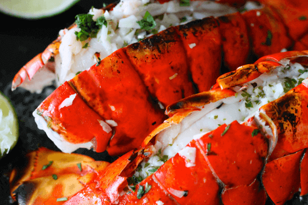 Grilled Lobster Tails with Garlic Herb Butter & Lime