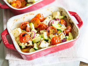 Grilled feta with vegetables and herbs