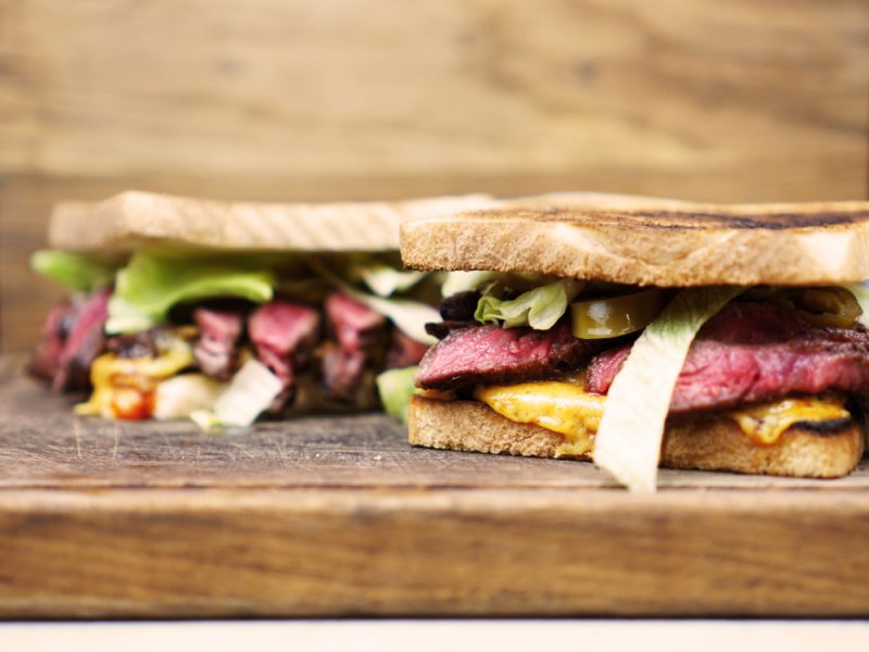 Mushrooms and steak sandwich