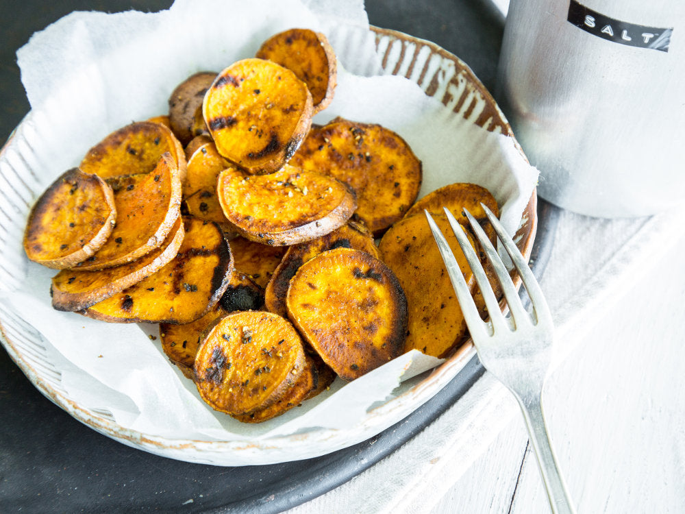 Spiced grilled sweet potatoes