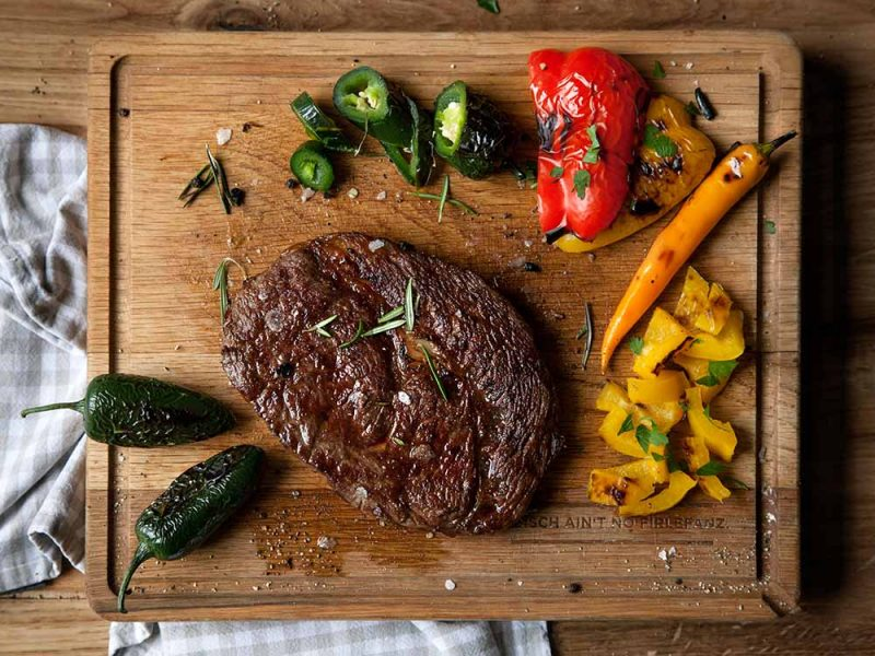 Wagyu steak with grilled vegetables