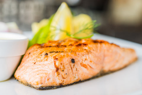Grilled salmon fillet with spicy Baharat butter