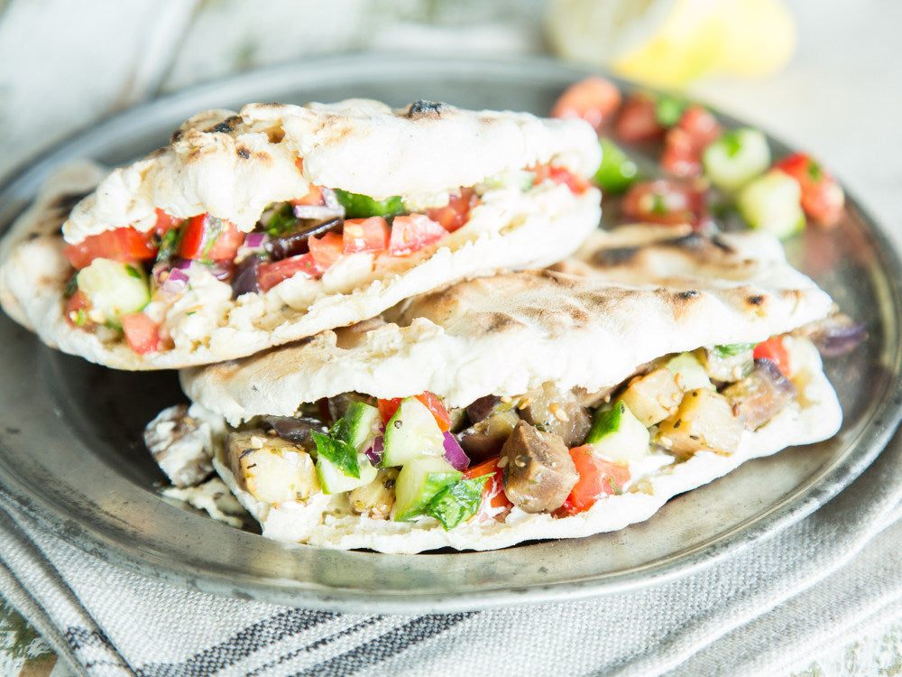 Veggie Pita with Grilled Eggplant