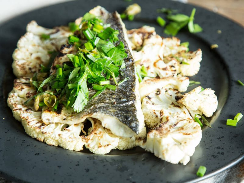 Grilled Sea Bass & Cauliflower