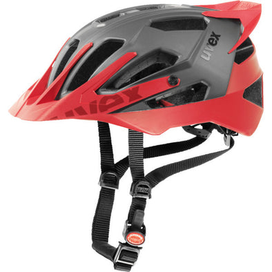 UVEX Quatro Pro Enduro Cycling Helmet Dark Silver/Red