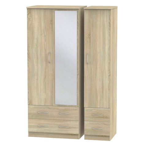 Avon 3 Door 4 Drawer Mirror Wardrobe