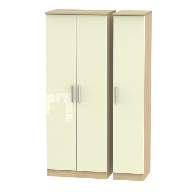 Knightsbridge 3 Door Tall Plain Wardrobe