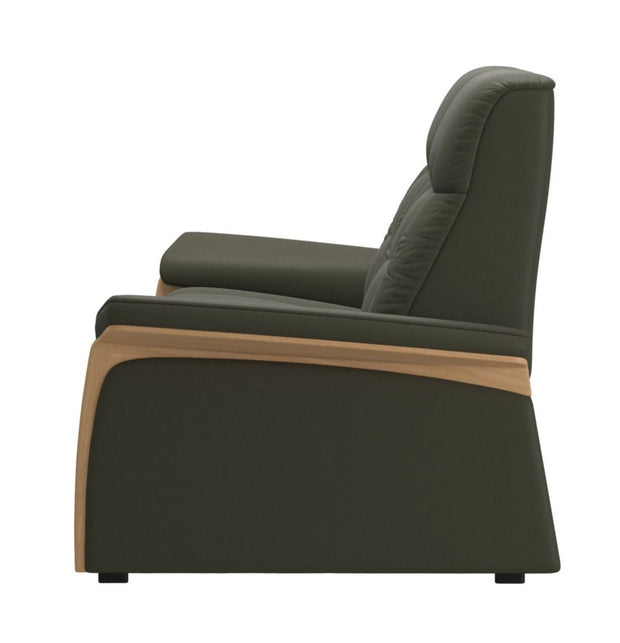 Stressless Mary 2 Seater (2 Power Seats) - Paloma Dark Olive/Oak Wood