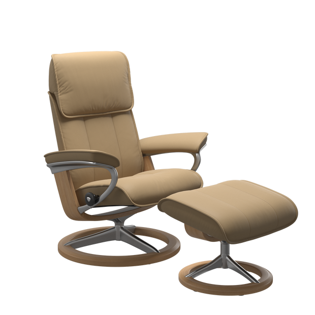 Stressless Admiral Medium Recliner Chair & Footstool In Paloma Sand & Oak With Signature Base