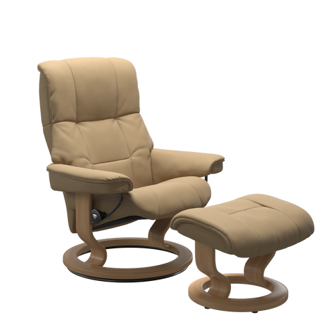 Stressless Mayfair Medium Recliner Chair & Footstool In Paloma Sand & Oak With Classic Base
