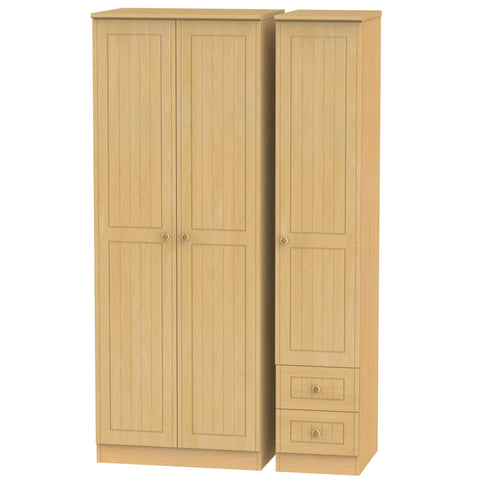 Warwick 3 Door 2 RIght Drawer Tall Plain Wardrobe