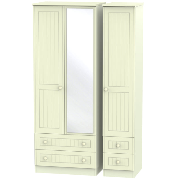 Warwick 3 Door 4 Drawer Tall Mirror Wardrobe