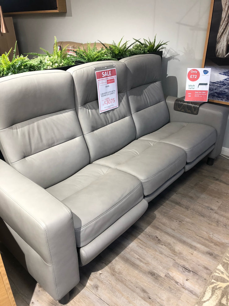 Stressless Wave 3 Seater in Paloma Silver Grey