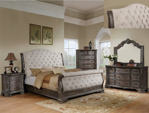 [Crown Mark] Sheffield Grey Sleigh Bedroom Set, Queen (B1120-88)