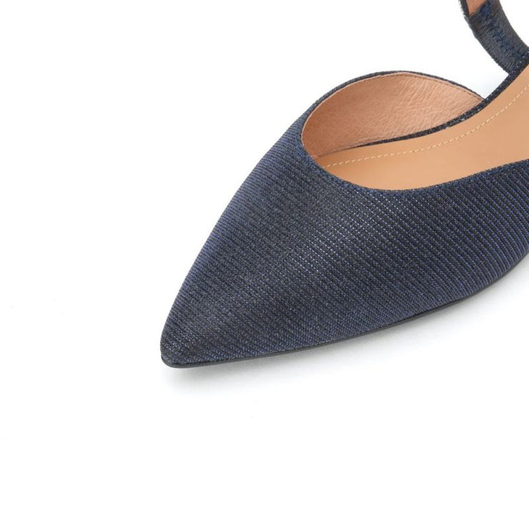 STACCATO Crystal Embellished Slingback Flats Navy