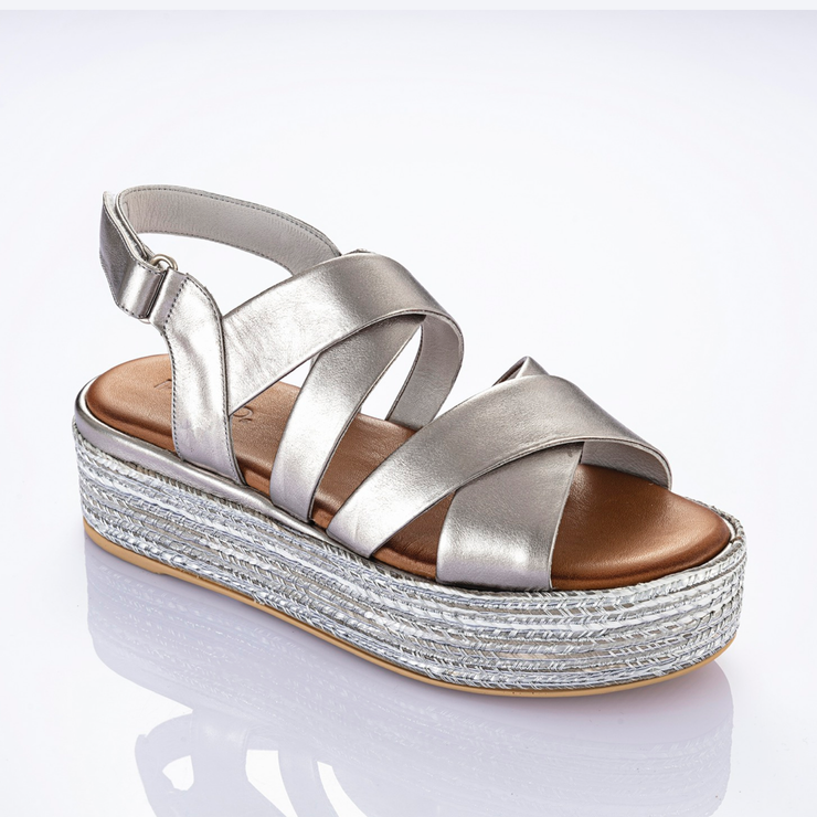 INUOVO Sling Back Leather Sandals Pewter