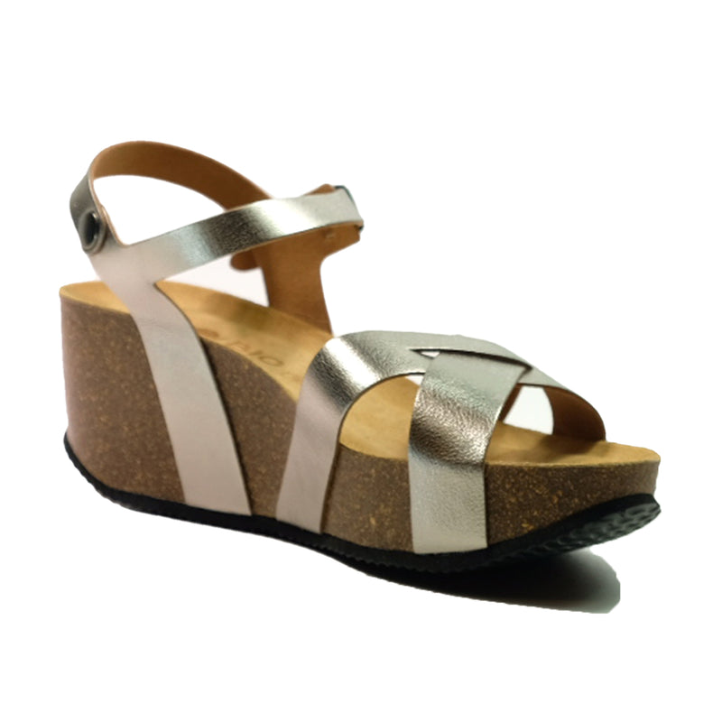 BIO BIO Strap Wedges Sandals BI-76137 Pewter