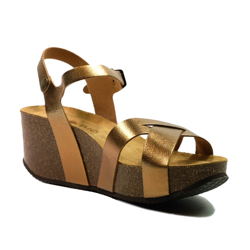 BIO BIO Strap Wedges Sandals BI-76137 Bronze