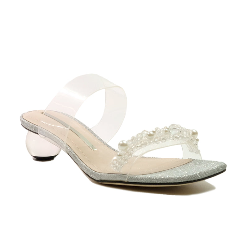 STACCATO Starry Night Crystal Ball Pearl Mules C02082FH Silver