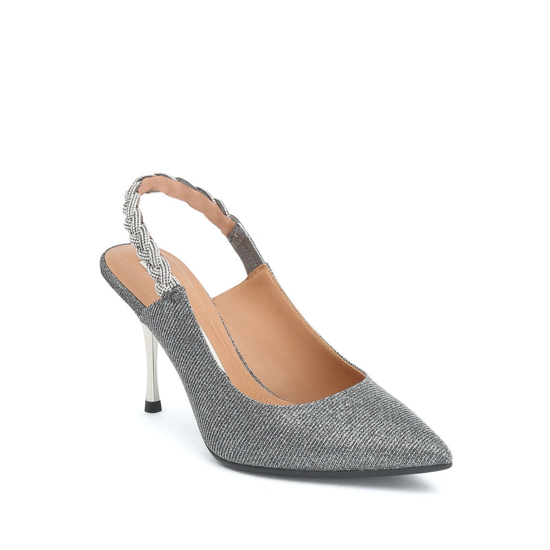 STACCATO Crystal Embellished Slingback Pumps C93O0193H Silver