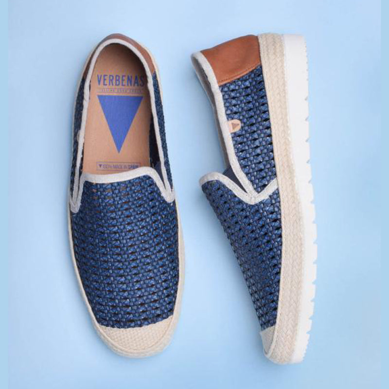 VERBENAS MENS Blade Woven Leather Loafers Blue