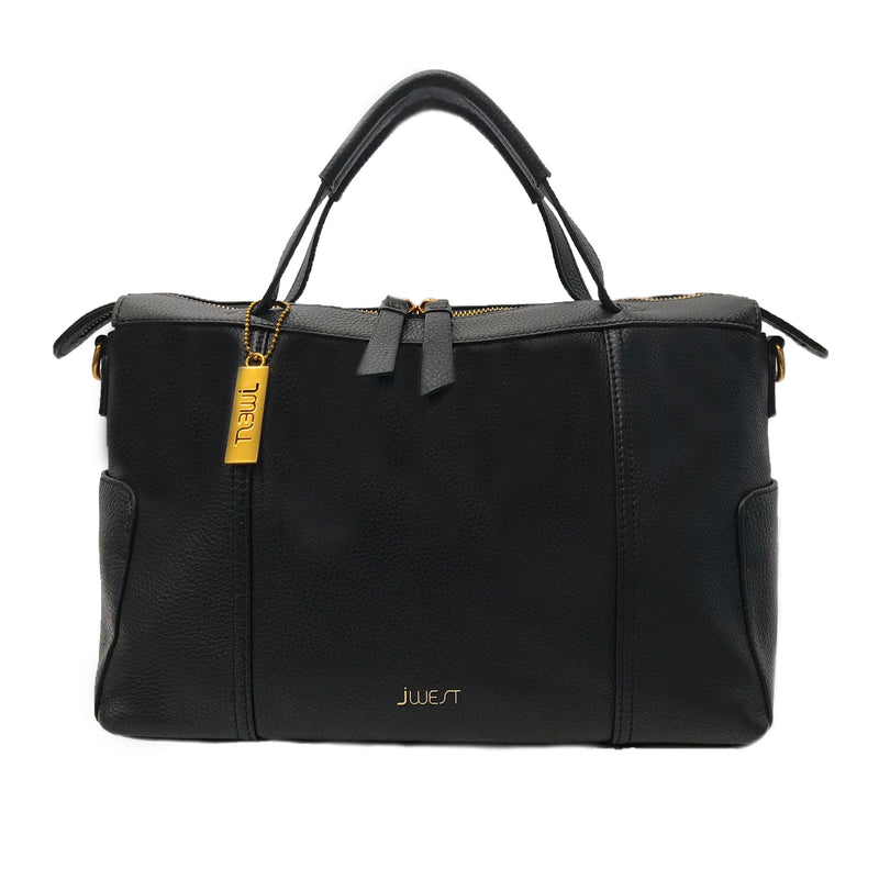 JWEST HB Leather Medium Tote Bag Black