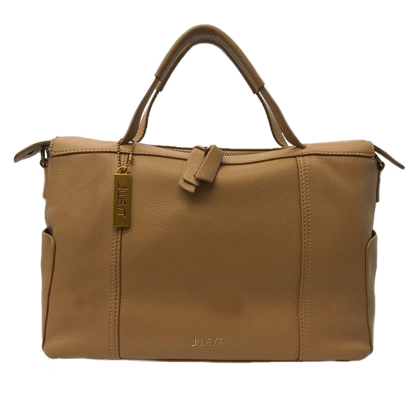 JWEST HB Leather Medium Tote Bag Tan