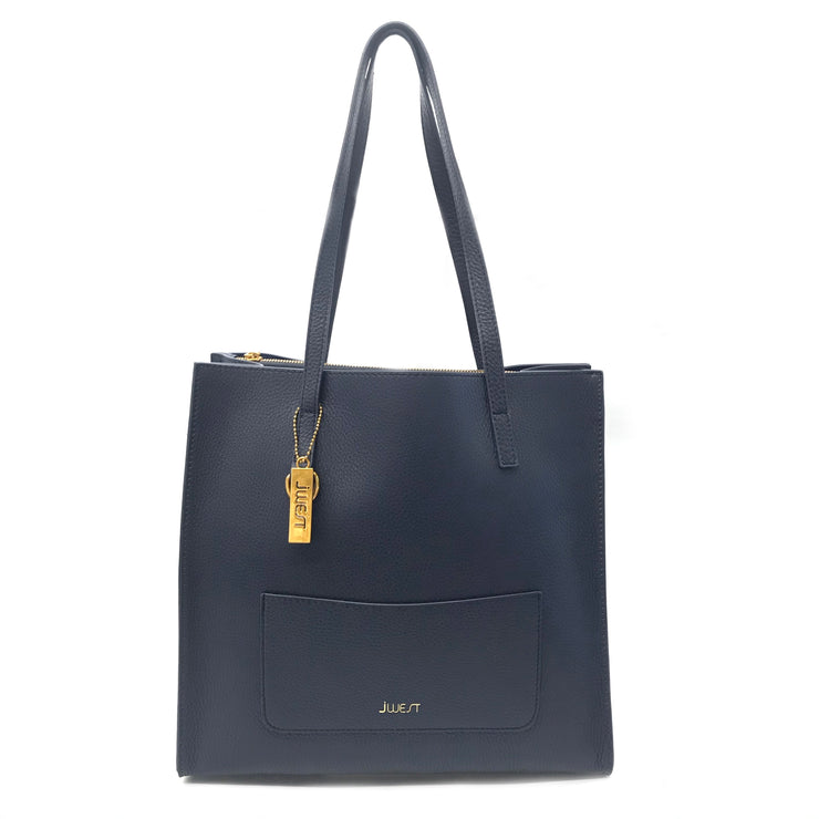 JWEST HB Leather Tote Bag Navy