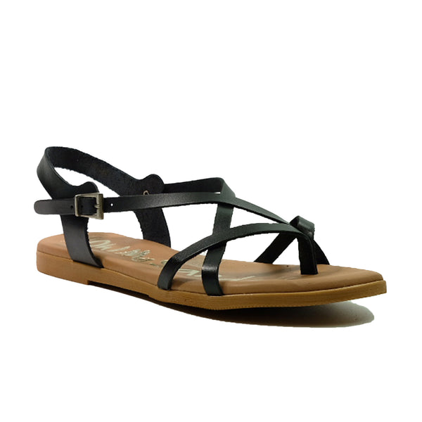 OH! MY SANDALS Flat Strap Sandals 1 OS-4641 Black