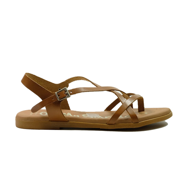 OH! MY SANDALS Flat Strap Sandals 1 OS-4641 Tan