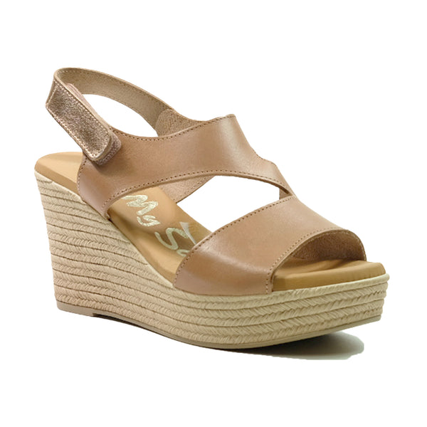 OH! MY SANDALS Leather Wedges Sandals OS-4713 Biege