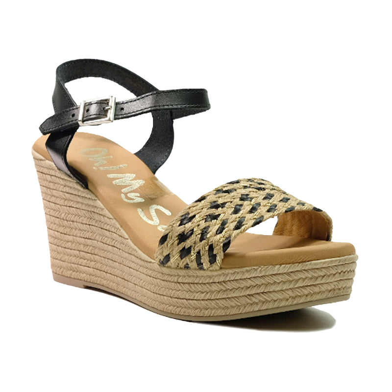 OH! MY SANDALS Strap Wedges Sandals OS-4715 Black