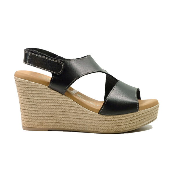 OH! MY SANDALS Leather Wedges Sandals OS-4713 Black