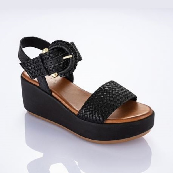 Wedges Sling Back Black