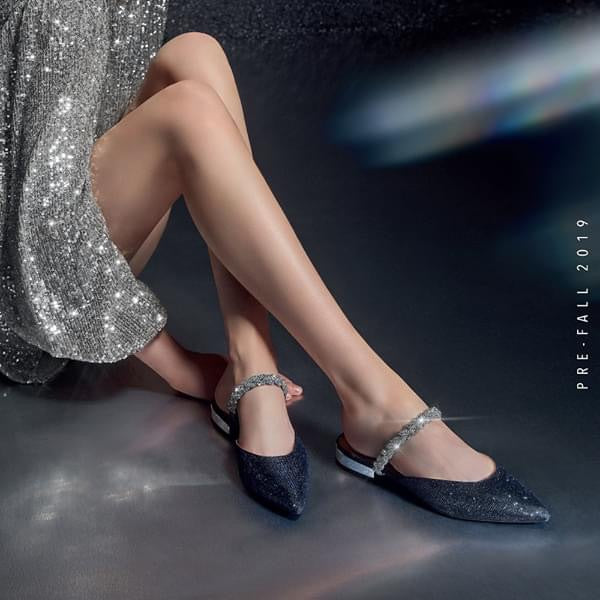 STACCATO Crystal Embellished Slingback Flats C93O0192H Navy