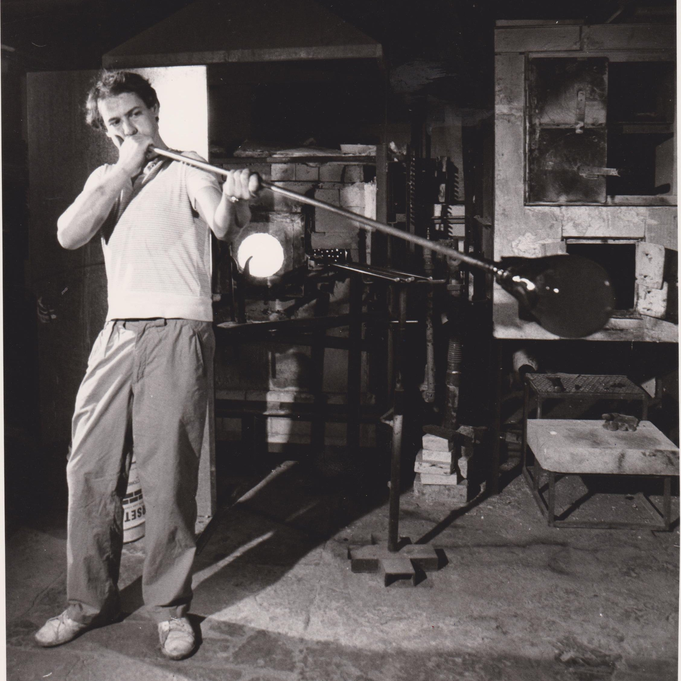 John blowing in the original Glasform studio in teh early 1980's.